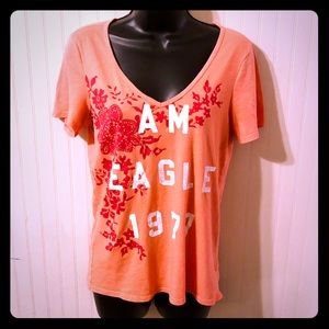 SZ L American Eagle Orange Graphic Tee